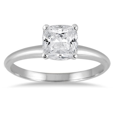 1 Carat Cushion-Cut Diamond Solitaire Ring in 14K White Gold