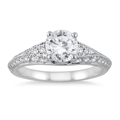 1 Carat Diamond Embroidered Engagement Ring in 14K White Gold