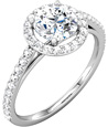 1 Carat Diamond Halo Engagement Ring with 1/2 Carat Center