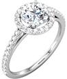 1 Carat Diamond Halo Engagement Ring with 1/2 Carat Center
