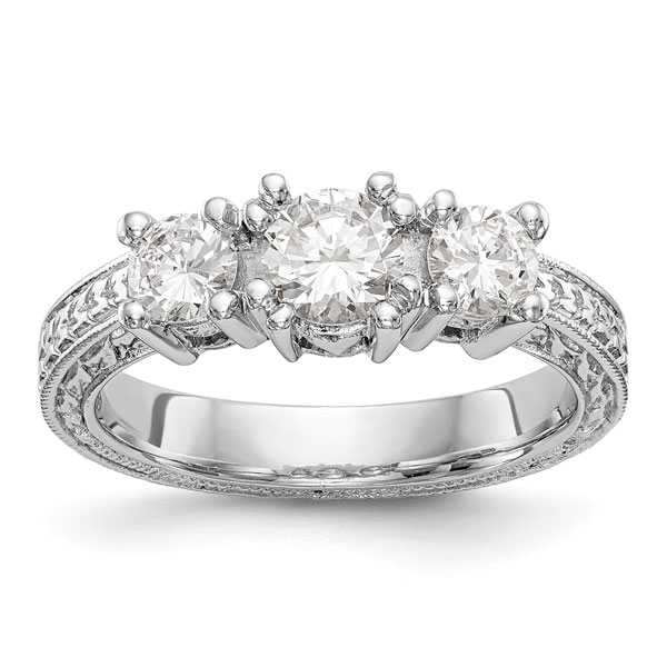 1 Carat Etched Three Stone Diamond Engagement Ring