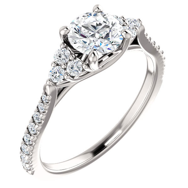 1 Carat French-Cut Trinity Diamond Engagement Ring