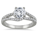 1 Carat Halo Embraced Diamond Engagement Ring in 14K White Gold