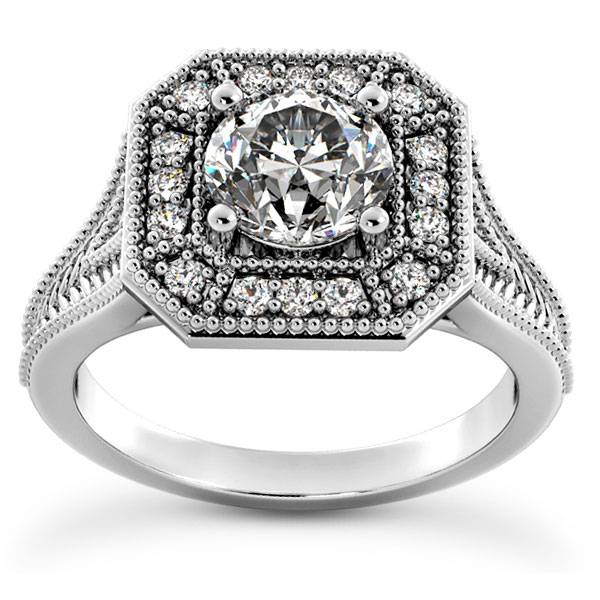 1 Carat Octagonal Halo Diamond Engagement Ring
