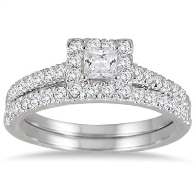 1 Carat Princess-Cut Diamond Halo Bridal Engagement Ring Set in 14K White Gold