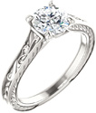 Scrollwork Design White Topaz Engagement Ring in Sterling Silver