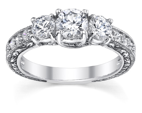 Three Stone Antique Style Diamond Engagement Ring