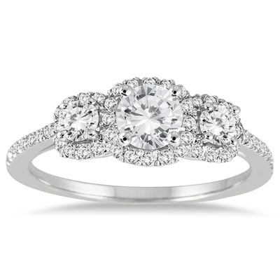 1 Carat Three-Stone Diamond Halo Ring, 14K White Gold