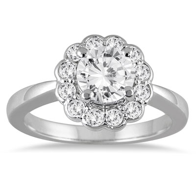 1 Carat White Diamond Flower Engagement Ring in 14K White Gold