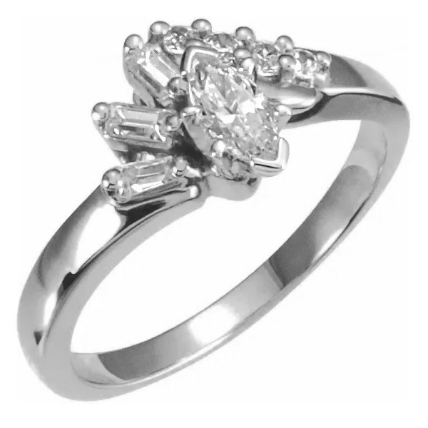 14K White Gold 1/2 Carat Marquise and Baguette Diamond Engagement Ring