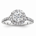 1/4 Carat Diamond Halo Engagement Ring, 14K White Gold