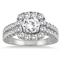 2 Carat White Diamond Halo Engagement Ring in 14K White Gold
