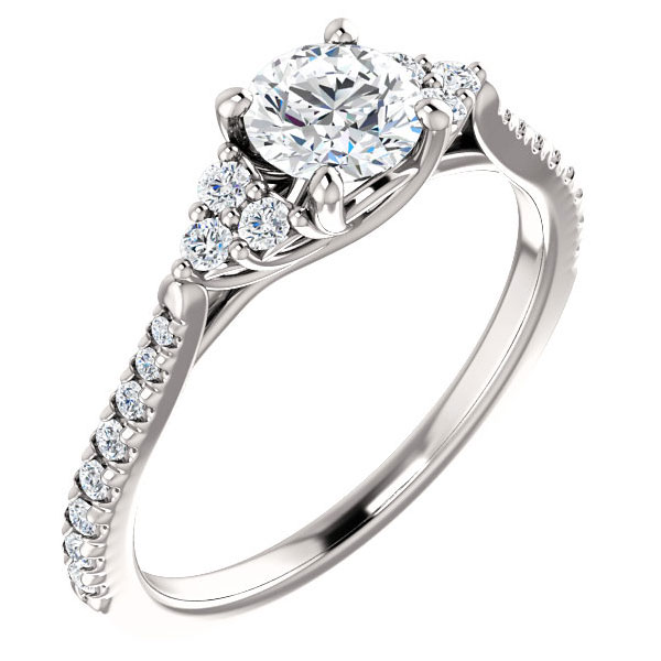 3/4 Carat French-Cut Trinity-Accent Diamond Engagement Ring