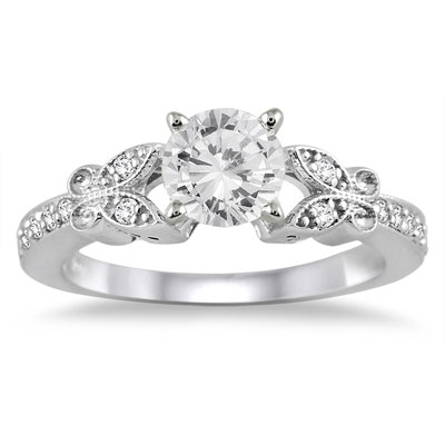 3/4 Carat Diamond Floral-Inspired Engagement Ring in 14K White Gold