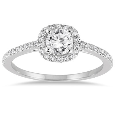 3/4 Carat Diamond Halo Engagement Ring, 14K White Gold