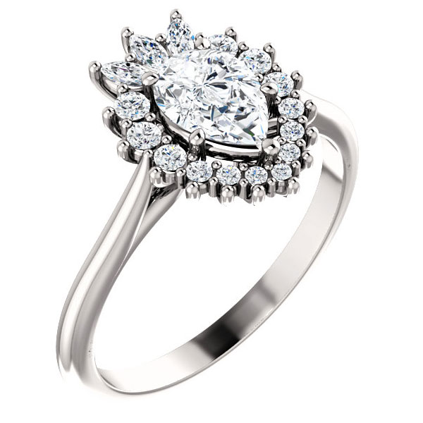 3/4 Carat Pear-Shaped Diamond Halo Engagement Ring
