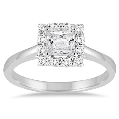 3/4 Carat Princess-Cut Diamond Halo Engagement Ring, 14K White Gold