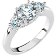 3/4 Carat Three-Stone Diamond Engagement Ring, 14K White Gold