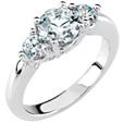 3/4 Carat Three-Stone Diamond Engagement Ring, 14K White Gold