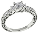 3/4 Carat Three Stone Princess Cut Floret Diamond Engagement Ring