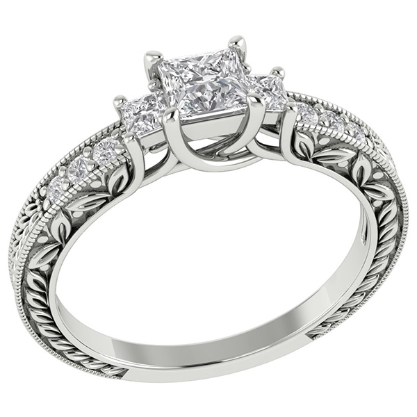 Platinum 3/4 Carat Three Stone Princess Cut