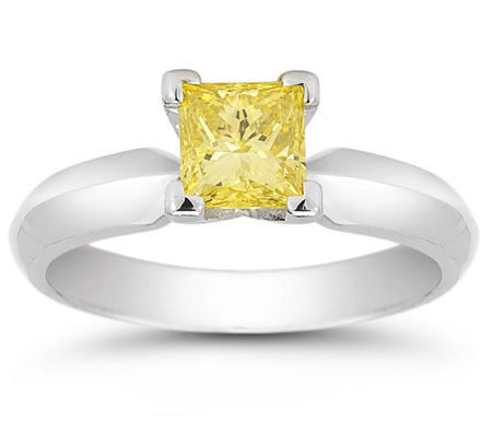 3/4 Carat Princess Cut Yellow Diamond Engagement Ring