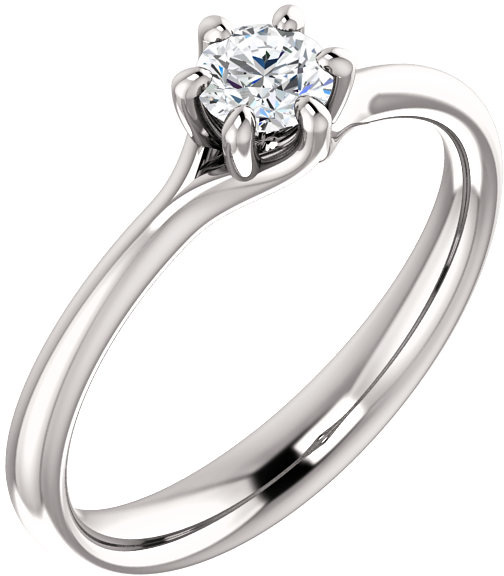 Designer 6-Prong 1/4 Carat Diamond Solitaire Ring