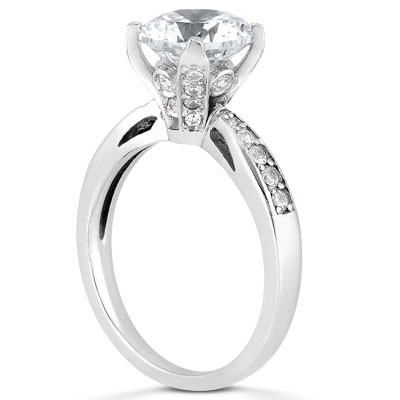eba997266037fe 1 1/2 Carat CZ Classic Engagement Ring in 14K White Gold. Q CZ Engagement  Ring