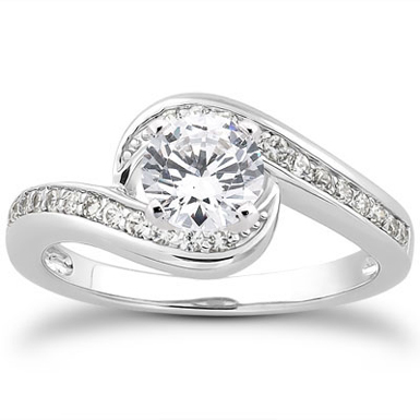 3/4 Carat Diamond Swirl Engagement Ring