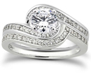 1.19 Carat Diamond Swirl Bridal Wedding Ring Set