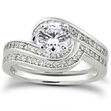 3/4 Carat Diamond Swirl Bridal Wedding Ring Set thumbnail