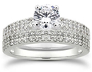 1.45 Carat Pave Diamond Bridal Set