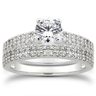 1 Carat Pave Diamond Bridal Set
