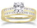 3/4 Carat Round and Princess Cut Diamond Bridal Set, 14K Yellow Gold