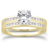 Round and Princess Wedding Ring Set