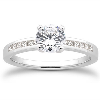 1/2 Carat Round and Princess Cut Diamond Engagement Ring