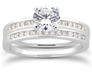 3/4 Carat Round and Princess Cut Diamond Bridal Set