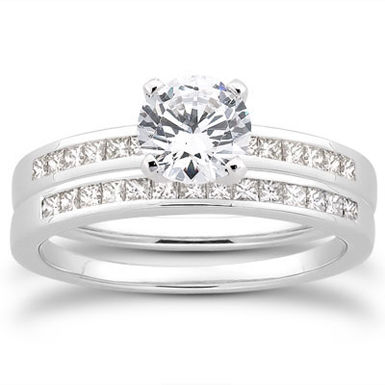 1 Carat Round and Princess Cut Diamond Bridal Set