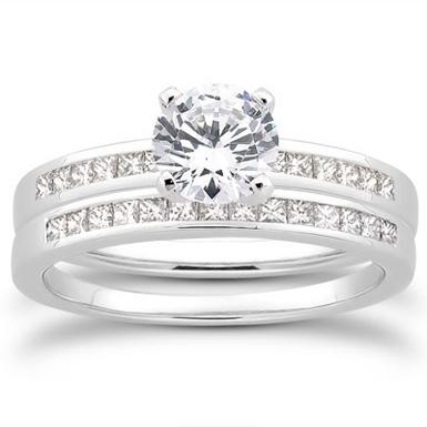1 Carat Round and Princess Cut Diamond Bridal Set