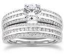 1.74 Carat Diamond Modern Wedding Engagement Ring Set