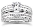 1 Carat Diamond Modern Wedding Engagement Ring Set
