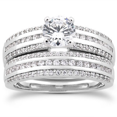 1 Carat Diamond Modern Wedding Engagement Ring Set