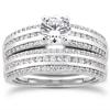 Modern Wedding Engagement Ring Set