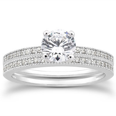 1 Carat Antique Style Diamond Engagement Set