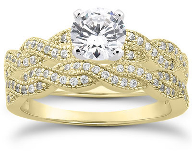 0.87 Carat Diamond Bridal Wedding Set, 14K Yellow Gold