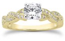 1 Carat Diamond Twist Engagement Ring, 14K Yellow Gold