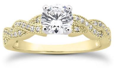1 Carat Diamond Twist Engagement Ring, 14K Yellow Gold
