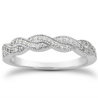 1/4 Carat Diamond Twist Wedding Band