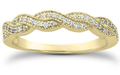 1/4 Carat Diamond Twist Wedding Band, 14K Yellow Gold