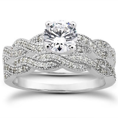 0.87 Carat Diamond Bridal Wedding Set